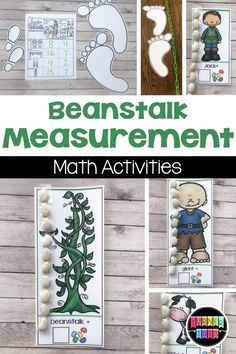 "I smell lots of preschool fun with these math, literacy, sensory, and dramatic play activities for ""Jack and the Beanstalk. Fairy Tale Activities, Rhyming Activities, Kindergarten Activities, Measurement Activities, Math Literacy, Numeracy, Stem Activities, Maths, Preschool Garden"