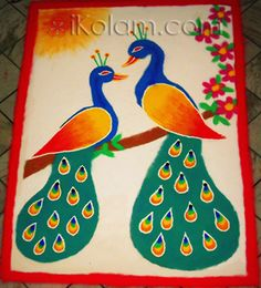 Pair of peacocks rangoli for rangoli contest in ikolam.com. done by Smiriti Irani