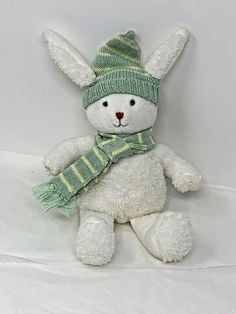 Baby Gap White Plush Bunny Rabbit Rattle 2004 9 Stuffed Toy in Knit Hat Scarf Pet Toys, Baby Toys, Bunny Plush, Baby Rattle, Stuffed Toy, Baby Gap, Bunny Rabbit, Knitted Hats, Dinosaur Stuffed Animal
