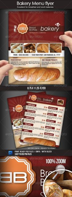 Bakery Menu Flyer  #GraphicRiver         Advertise a bakery shop with this elegant 8.5×11 Bakery Menu Flyer. This file is easy to personalized with your own information, pictures, menu items, prices, etc. You can also edit and change the logo or include your own. This is a CMYK 300