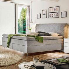 Boxspringbett aus grauem Textilstoff mit silbernen Füßen Bench, Storage, Design, Furniture, Home Decor, Gray, Homemade Home Decor, Larger, Benches