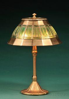 Tiffany Studios Linenfold Table Lamp, New York, early 20th century
