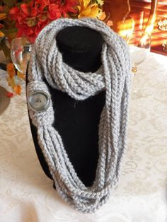 Gray Chain Crochet Infinity Scarf with Button by SittisHands