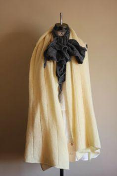 Lemon Scottish Shetland wool shawl