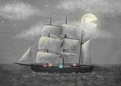 Ghost Ship by Terry Fan Graphic Art on Canvas Big Canvas, Canvas Size, Canvas Art, Canvas Prints, Caspar David Friedrich Paintings, Terry Fan, Painting Prints, Art Prints, Wall Murals