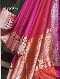 Panache - The Desi Creations Silk Saree Banarasi, Blue Silk Saree, Banaras Sarees, Bridal Silk Saree, Organza Saree, Pure Silk Sarees, Saree Wedding, Saree Kuchu Designs, Sari Blouse Designs