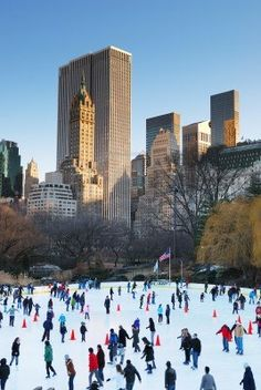 New York City ~ Ice skaters in Central Park.
