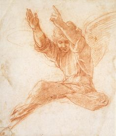Raphael - An Angel, Red chalk on off-white paper © Ashmolean Museum