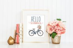 Hello Summer Print / Floral Bicycle Print / Bicycle Wall Art / Bicycle Art / Pink Blush and Navy /Summer Wall Art / Up to 13x19 by MadKittyMedia on Etsy https://www.etsy.com/listing/233564277/hello-summer-print-floral-bicycle-print