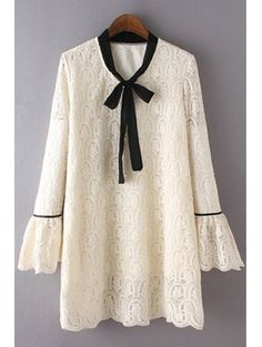 SHARE & Get it FREE | Bowknot Embroidered Stand Neck Flare Sleeve Lace DressFor Fashion Lovers only:80,000+ Items • New Arrivals Daily Join Zaful: Get YOUR $50 NOW!