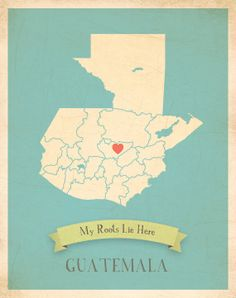 Guatemala Roots Map 11x14 Customized Print by MyRoots on Etsy, $40.00