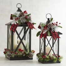 Faux Floral Lanterns with LED Flameless Candles