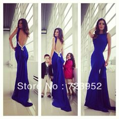 2014 Sexy Backless Mermaid Evening Dresses Open Back Royal Blue Chiffon Sheath Fitted Formfitting Long Train Formal Prom Gowns US $149.00