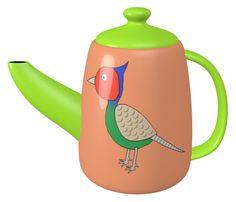 Green Pheasant Teapot / #Bird #Animal #キジ