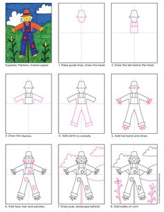 Scarecrow Drawing How to draw a scarecrow in a field. PDF tutorial available.How to draw a scarecrow in a field. PDF tutorial available. Art Drawings For Kids, Drawing For Kids, Easy Drawings, Art For Kids, Drawing Art, Fall Art Projects, Projects For Kids, Theme Halloween, Happy Halloween