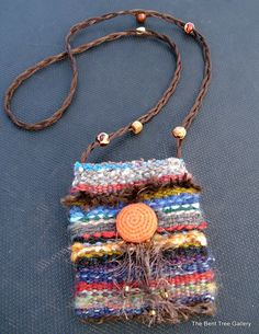 Handwoven Fiber Pouch Necklace by TheBentTreeGallery on Etsy, $59.00