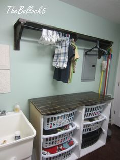 Laundry Dresser foling area and hanging shelf