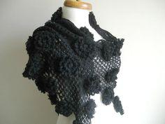 Black Shawl With Big Black Flowers Fall and Winter by crochetlab, $66.00