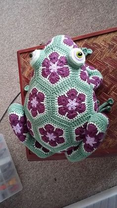 """Best 11 …"""" and I love him as much as the other critters in the menagerie! I altered the joining African Flower Crochet Animals, Crochet Animal Patterns, Crochet Patterns Amigurumi, Stuffed Animal Patterns, Crochet Dolls, Crochet Flowers, Flower Patterns, Knitted Dolls, Knitting Patterns"""