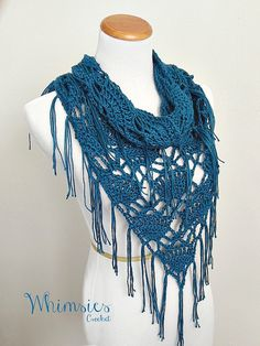 Crochet Fringe Cowl Infinity Cowl Triangle by WhimsiesCrochet, $60.00