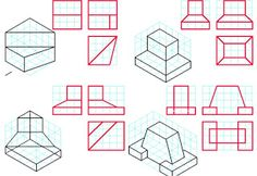 Orthographic Drawing, Isometric Drawing, 3d Cad Models, Drawing Exercises, Technical Drawing, Sketch, Graphics, Architecture, Drawings
