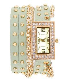Look what I found on #zulily! Mint & Gold Chain Rhinestone-Bezel Wrap Watch by Geneva Platinum #zulilyfinds