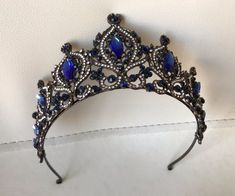 Antique Royal Blue Tiara Bridal Crown Crystal Wedding Tiara | Etsy Bridal Crown, Bridal Tiara, Bridal Headpieces, Gold Tiara, Swarovski Stones, Crystal Crown, Crown Hairstyles, Crystal Wedding, Tiaras And Crowns