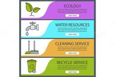 Environment banners. Vector. Water Infographic. $5.00
