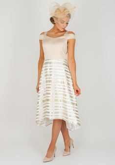 ef7d40b910c Lizabella Satin Bodice Flared Midi Dress