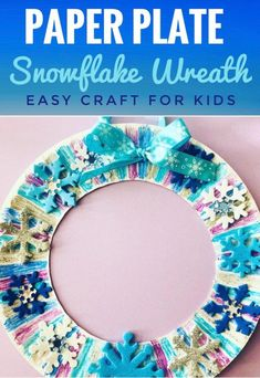 Paper Plate Wreath Crafts are quick, easy, and mess free! Perfect kids craft for… Paper Plate Wreath Crafts are quick, easy, and mess free! Perfect kids craft for classroom parties. This Winter Snowflake Wreath Craft would be fun for a Frozen Party! Winter Crafts For Toddlers, Winter Activities For Kids, Easy Crafts For Kids, Christmas Crafts For Kids, Projects For Kids, Art Projects, Kids Diy, Winter Preschool Crafts, Quick Crafts