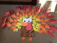 Family Handprint Turkey Craft for thanksgiving #bulletin board idea