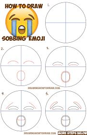 How to Draw Sobbing Crying Emoji Face with Easy Steps Lesson - How to Draw Step by Step Drawing Tutorials Cute Easy Drawings, Art Drawings For Kids, Drawing For Kids, Emoji Drawings, Doodle Drawings, Doodle Art, How To Draw Steps, Learn To Draw, Emoji Painting