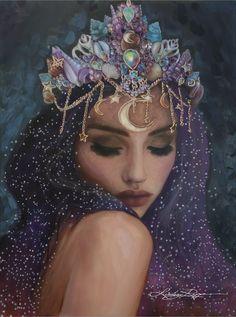 Goddess Art, Moon Goddess, Goddess Of Stars, Divine Goddess, Beautiful Goddess, The Goddess, Luna Goddess, Lindsay Rapp, Texture Painting
