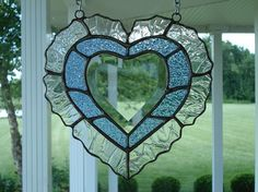 Stained Glass Window Suncatcher Blue Beveled by TheGlassShire, $32.00