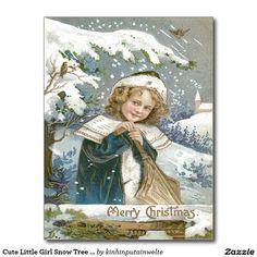 Cute Little Girl Snow Tree Church Postcard