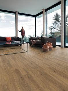 Creation 30 Luxury Vinyl Tiles are the solution for looselay installation with clipping system, suited for light trafficked areas. Hardwood Floors, Flooring, Luxury Vinyl Tile, Vinyl Designs, Modern House Design, Pecans, Dining Table, Interior, Outdoor Decor