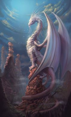 White Dragon, Alejandro Giraldo Vargas (Alejdark) on ArtStation at www. White Dragon, Al Mystical Animals, Mythical Creatures Art, Mythological Creatures, Magical Creatures, Fantasy Wesen, Mythical Dragons, Beautiful Dragon, Female Dragon, Dragon Artwork