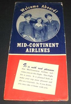 """Hi, and thanks for looking. It's genuinely appreciated.This is a 1949 ticket folder for Mid-Continent Airlines, which ceased operations in 1952. It measures about 10""""by 5"""" folded and opens to 3 times that width. Interesting to see how basic air travel was almost like first-class is today. Nice remnant of when flying was truly a pleasure. Overall nice shape.Preferred payment method is paypal if possible. We combine shipping whenever possible. Please note we mail weekly, not daily. .. we're a two- Air Ticket Booking, Air Tickets, Airline Tickets, Cheap Flight Deals, Cheap Flight Tickets, International Flight Tickets, Mid Continent, Tickets Online, Air Travel"""