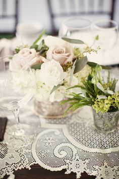 Use vintage lace tablecloths, stunning!