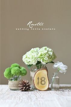 Create rustic wedding table numbers out of wood.