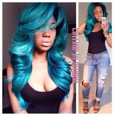 Human Lace Front Wigs, Mermaid Hair, Blue Hair, Wig Hairstyles, Baddie, Hair Inspiration, Locks, Cover Up, Hair Color