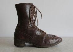 Antique Victorian Leather Shoes  Brown Leather by VeraVague.etsy.com