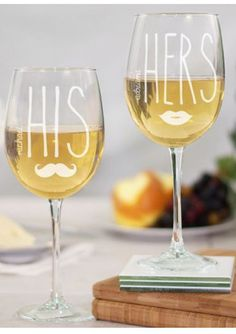 Engraved His & Hers Wine Glass Set