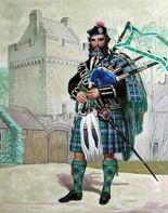 Scottish painting showing highland clansmen in their tartan kilts