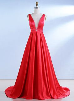 A-Line deep v-neck sweep train backless red satin pleated prom dress. Senior Prom Dresses, Prom Dresses For Teens, Sexy Dresses, Beautiful Dresses, Dance Dresses, Long Dresses, Party Dresses, Wedding Dresses, After School