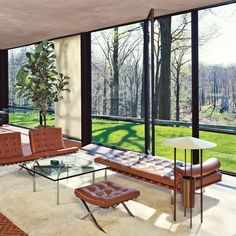 Mies van der Rohe's Iconic Barcelona Chair in architect Phillip Johnson's Glass House