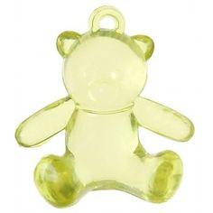 Perle ours vert anis transparent forme ourson assis en plastique x 6, perles ours vert anis de 2.9 cm x 2.5 cm, déco boite dragées, déco de table, baptême, baby shower, naissance, fêtes. http://www.baiskadreams.com/3058-perles-ours-vert-anis-transparent-2-9-cm-les-6.html