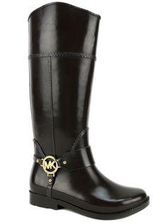 Michael Kors Women's Fulton Harness Rain Boots Coffee Brown Rubber Size 6 M #MichaelKors #Rainboots #Rainboots