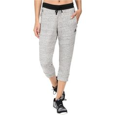 adidas Cotton Fleece 3/4 Pants (S&P MGH Melange) Women's Workout ($40) ❤ liked on Polyvore featuring activewear, activewear pants, grey, drawstring sweat pants, adidas, adidas sportswear, cotton sweat pants and cotton sweatpants