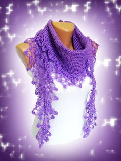 Amthyst Scarves Fashion Purple lilac Hand Knit by WomanStyleStore, $31.00